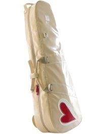 半額セール!!リュック式 ドイツ製バイオリンレインカバー with 欧州製温度調整機能素材+止水ファスナー「Paganini/wf」 サンドベージュ/ホワイト・ジャーマンレッドハート Made in Japan