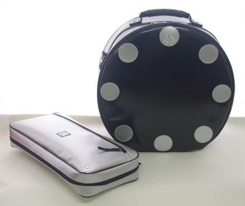 3: スネアケース「Great Gatsby 3」 ブラック/シルバードット (14インチ用 スナッピー大 bigger size) ハンドメイド 3WAY リュック対応 (取り外し可) *スティックケースポケットなし 【ドイツ製完全防水生地×特殊温度調整機能&衝撃吸収素材+止水ファスナー】 Fabric from Germany, Made in Japan