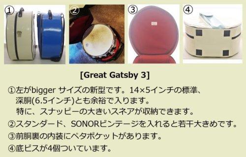 1: スネアケース「Great Gatsby 3」 アイボリー/白・ミントライン (14インチ用 スナッピー大 bigger size) ハンドメイド 3WAY リュック対応 (取り外し可) *スティックケースポケットなし 【ドイツ製完全防水生地×特殊温度調整機能&衝撃吸収素材+止水ファスナー】 Fabric from Germany, Made in Japan